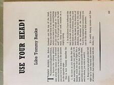 M17b ephemera 1950s article use your head football tommy banks bolton
