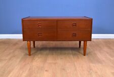Mid Century Retro Danish Teak Low TV Stand Sideboard Chest of 4 Drawers 1970s