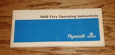 Original 1968 Plymouth Fury Owners Operators Manual 68