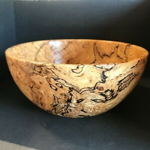 Hand Turned Spalted Maple Wood Bowl Signed & Dated