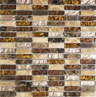 Glasmosaik Naturstein beige braun mix Wand Küche Bad WC Art:WB87-1310|1 Matte