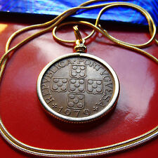 "Portuguese Escutcheon Cross Coin Pendant on 24"" Golden Snake Chain"