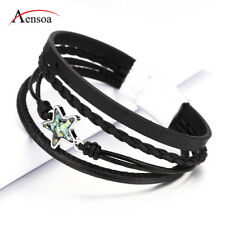 Fashion Women Black Rhinestone Multi-layer Leather Bangle Charm Wrap Bracelets