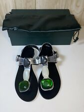 ROBERT CLERGERIE STONE JEWEL SILVER LEATHER SANDALS SZ 7.5