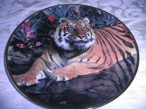 FRANKLIN MINT COLLECTORS PLATE  -  'TIGER in PARADISE' - LTD EDITION