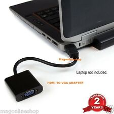 Black HDMI to VGA Adapter Converter Cable - No Power Needed - 2 Years Warranty
