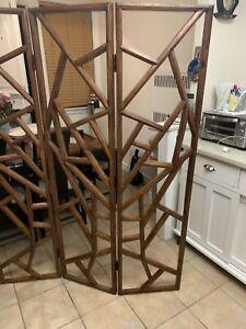 3 Panel Solid Wood Shutter Room Divider