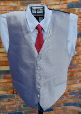 CARDI COLLECTION MENS XL 48R 5-BUTTON FORMAL SILVER GRAY VEST WAISTCOAT & TIE