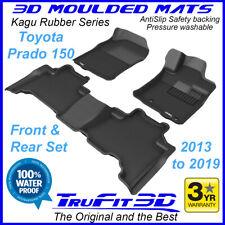 Fits Toyota Land Cruiser Prado 150 2013-2020 3D Kagu Black Rubber Floor Mats F&R