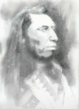 ORIGINAL NATIVE AMERICAN INDIAN THEME GRAPHITE DRAWING- SIGNED WESTERN ART