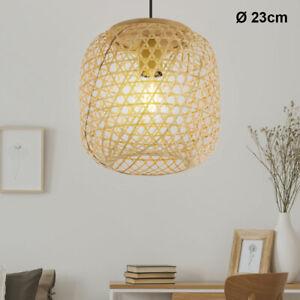 Decken Pendel Hänge Lampe Leuchte Bambus-Geflecht Wohn Ess Schlaf Zimmer Licht