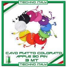 3 Metri 3m Cavo Dati PIATTO PER APPLE 30 PIN- Iphone 3/4/4S iPad Ipod