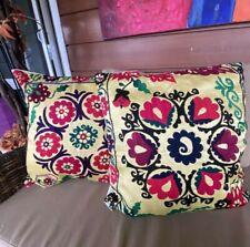 Vintage Uzbek Suzani Cushion Cases 20x20 Decorative Handmade Yellow Pillow Cases