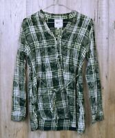 WOMENS VINTAGE PINK ROSE SHIRT SIZE M GREEN CHECK LONG SLEEVE 100% COTTON TOP