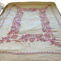 Vintage Cross Stitch Tablecloth Rectangle Scallop Floral Linen