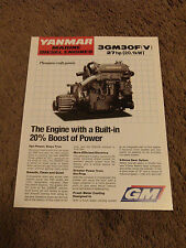 Yanmar Marine Diesel Engine 3GM30F 3GM30FV Dealer Sales Brochure Specifications