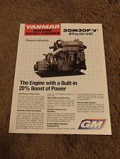 Yanmar Marine Diesel Engine 3GM30F 3GM30FV Dealer Sales Brochure Specifications