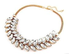 "NEW Crystal Leaf Bubble Bib Pendant Statement Necklace 20"" Adjustable Women's US"