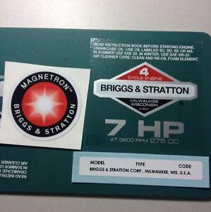 Briggs & Stratton 7-hp Sticker Decal Set 1981-1986 W/ Magnetron Homelite