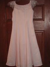 Pink long girls satin dress sheer ribbon size 8/10 fancy EUC party spring