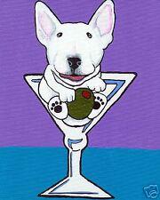 White Bull Terrier Martini Glass Dog Art Print Painting