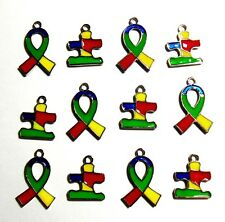 Autism Awareness Puzzle Piece Charms Ribbon Aspergers Pendant Enamel Color 8 pcs