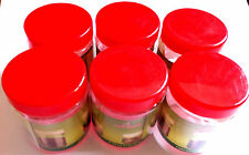 Pack of 6 Jars Kitchen Storage Plastic Round Jar  Red Top Clear 100ml Containers
