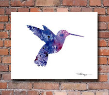 Purple Hummingbird Abstract Watercolor Painting Art Print by Artist DJ Rogers