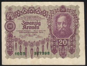 1922 20 Kronen Austria Old Vintage Paper Money Banknote Currency Antique VF