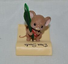 1982 HALLMARK MERRY MINIATURE - MOUSE WRITING LETTER TO SANTA W/FEATHER PEN