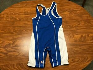 MENS USED BRUTE LYCRA BLEND BLUE & WHITE WRESTLING ONE PIECE SINGLET SIZE SMALL