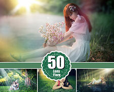 50 sun lens Photo Overlays, Lens Flare, Sun beams and streaks, png file