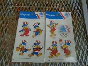 Vintage Olympics Los Angeles Sam The eagle 2 pack magnets Boxing ,Soccer 1984