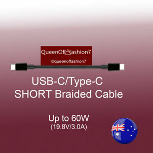 1x Short 22CM Type-C to Type-C /USB C Braided Cable Up to 60W