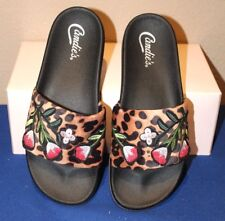 CANDIE'S LEOPARD SANDALS SLIDES SEXY SEQUIN EMBROIDERED CELEBRATION  SIZE 7 NEW