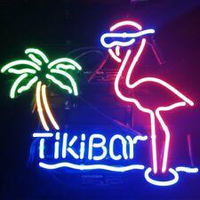 "Tiki Bar Pink Flamingo Palm Tree Neon Light Sign 20""x16"" Beer Lamp Real Glass"