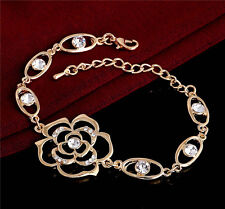18K Gold Plated Hollow Rose Flower Austrian Crystal Fashion Bracelet Bangle