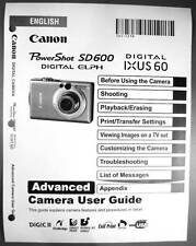 Canon Powershot SD600 IXUS 60 Digital Camera User Guide Instruction  Manual