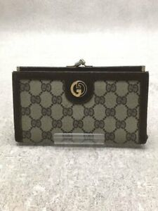 Gucci Old Gg Plus Long Wallet Pvc Gry Total Pattern Horn Yabre Yes