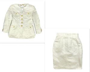 Vintage 80s Escada 2Pc Suit Rare Designer Set Skirt & Blazer Gold White Sz 36 4