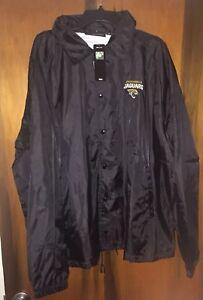 Nwt Vintage Mens Jacksonville Jaguars Snap Up windbreaker Jacket Sz 2XL & Black
