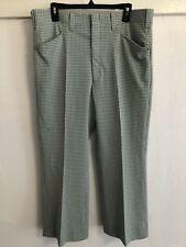 Vintage 70s Mens Gingham Green White Pastel Slacks Pants Haggar Short! 37 Waist