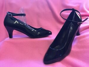 BLACK PATENT Ankle Strap Classic PUMP by PLEASER  Womens Size 16M  NEW~FREE SHIP
