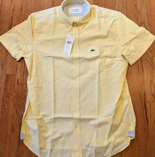 Mens Authentic Lacoste SS Oxford Button Up Shirt Yellow 42 Large