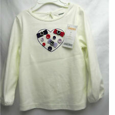 NWT 3T Gymboree White long sleeve shirt w/heart made of button/bows *Valentine's