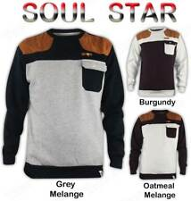 Mens Soul Star Battery Sweatshirt Quilted & Leather Patches Top Jumper