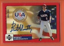 2000 UD ROOKIE UPDATE USA A TOUCH OF GOLD BRENT ABERNATHY ON CARD AUTO # 355/500