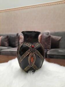 Moroccan handmade Vase with decorative metal design