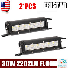 Slim 2Pcs 7inch 30W Led Work Light Bar Flood Jeep Boat Driving 4x4WD Single Row
