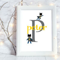 Personalised A4 Print,Superhero,Initial,Baby,Gift,Wall Art,NO FRAME